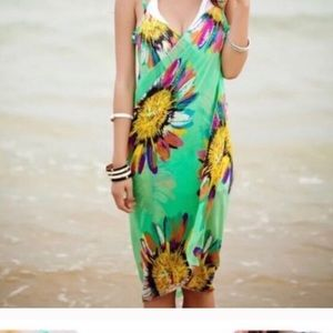 Green beach cover up multi color wrap